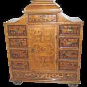 SALE Marquetry Inlaid Cabinet 17th/18th C Dutch Miniature Salesmen's Sample Antique