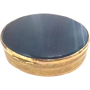 SALE Antique Pill orTrinket Box Brass with Blue Agate Vintage 19th C