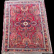 Antique Rug Persian Sarouk Lilihan Bidjar Oriental  3.5' x 4.75' 1900s