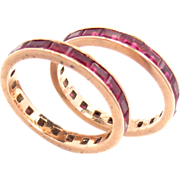 Wedding Bands 14 K Pink Gold  Ruby