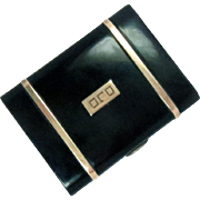 Cigarette Case 14 Kt Gold Sterling Silver Enameled Vintage Art Deco 72 g