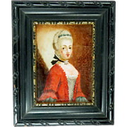 Reverse Glass Portrait Miniature in the manner of Jean Etienne Liotard