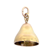 SALE 14 k Yellow Gold Bell Charm Pendant 3 D Movable Chiming School Church Wedding 2.6