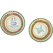 Hungarian Folk Art Pottery Pair of Plates Antique 1884 Dated and Inscribed