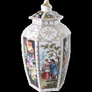 """SALE Dresden Porcelain Ginger Jar Large Floral, 18th C Vintage 12.5"""""""