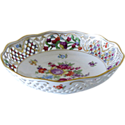 SALE Schumann Arzberg Bowl Empress Dresden Flowers Pattern Reticulated Rim 8""
