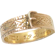 Buckle Garter Ring 15 Kt Yellow Gold Engraved Antique
