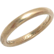 Vintage 18 Kt Gold Wedding Eternity Band Ring Size 4, Estate