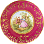 SALE KPM Berlin Plate Fragonard Painting in Center