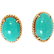 Vintage Natural Turquoise Earrings 14 Kt Gold Post and Clip. 12.5mm x 18mm