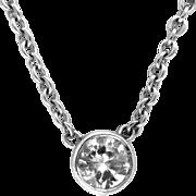 Vintage Diamond Solitaire Pendant Necklace Estate 14 Kt White Gold