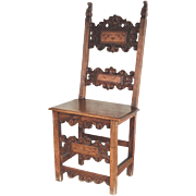 Antique Walnut Side Chair Italian Renaissance 17th Century