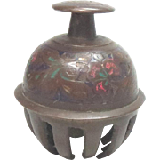 Elephant Claw Bell Chinese Enameled Vintage Bronze