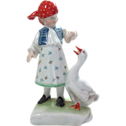 REDUCED Herend Porcelain Figurine Girl Feeding a Goose Vintage