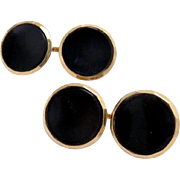 SALE Vintage Cufflinks 14 Kt Gold Black Onyx , Larter & Sons Double Sided