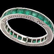 SALE Wedding Eternity Band Ring Platinum Emerald  Vintage Size: 6.25, 2.7 mm Wide