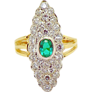 Vintage Victorian Style Navette Shaped Emerald Diamond Cluster Ring