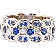 Sapphire Diamond Eternity Band in 14kt White Gold
