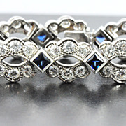 Estate 13.12 ct Diamond & sapphire Bracelet in 14 kt Gold