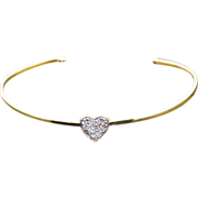 Diamond 14 kt Gold Heart Cuff Bangle, Tiny Luxeries