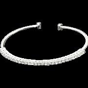 14k White Gold 1.50 ct Diamonds Flexible Open Bangle.