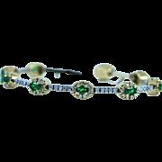 Diamond & Tsavorite Green Garnet Tennis Bracelet in 18K 2 Tone Gold.