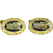 Vintage 18k Gold Filigree Enameled Cufflinks. Vintage Lincoln Memorial CuffLinks.