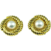 Vintage David Yurman 18k Gold and Mabe Pearl Earring