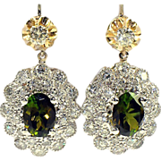 Pair of Tourmaline Diamond Pendant Earrings in 14kt Gold