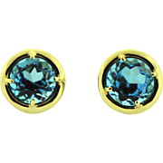 Second Hand 14k Gold Topaz Stud Earring