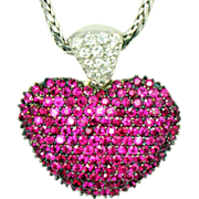 Large Ruby Diamond Puffed Heart Pendant on Chain 14kt G