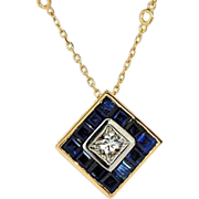 18kt Gold Sapphire and Diamond Princess cut Pendant on 14kt Chain, Vintage Sapphire Jewelry