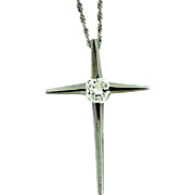 Vintage Diamond Cross Pendant in 14k Gold