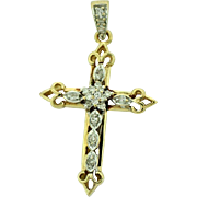 Vintage Cross Diamond Pendant in 14k Gold.