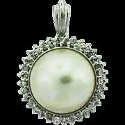 Enhancer Mabe Pearl Diamond 14k Gold Pendant.