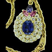 Vintage 13.95 ct Diamond Gems Pendant on Handmade 18k Chain