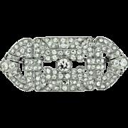 Geometric Art Deco Platinum Diamond Brooch.