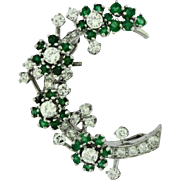 Estate Platinum Emerald & Diamond Floral Pin
