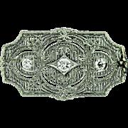 Vintage Platinum Filigree European Cut Diamond Brooch.