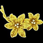 Vintage TIFFANY & CO 18k Gold Diamond Brooch