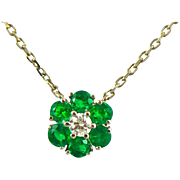 Emerald Diamond Daisy Pendant on a Diamond By the Yard Necklace in 14k Gold