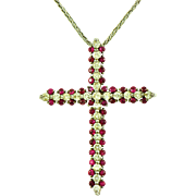 Genuine Ruby & Diamond Cross Pendant on Chain 14k White Gold