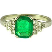 Art Deco Emerald Diamond Platinum 14k Ring, Circa 1920 Emerald Engagement Ring.