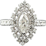 Vintage 2.30 ct Diamond Engagement Ring with an Anniversary Shank, 18 kt White Gold