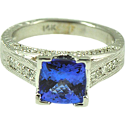 Vintage Tanzanite and Diamond Dressy Lady's Ring in 14kt White Gold, Engagement Ring.