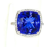 Platinum 17.50 ct Tanzanite Diamonds Large Ring, Masterpiece, Gemstone & Diamonds Cocktail Rin