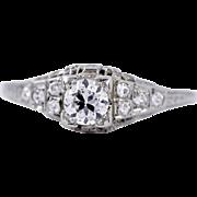 Antique Filigree Art Deco Old European Cut Diamond Engagement Ring in 18k Gold