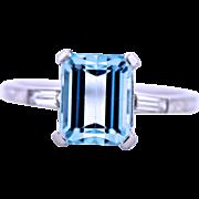 Platinum Aquamarine Diamond Ring, circa Mid last Century.