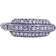 Platinum Diamond 3 Row Antique Band Ring, Circa Early 1900