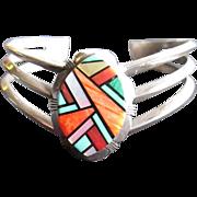 Signed R. Jack Chevron shaped Cuff Bracelet-Multi Stone-Turquoise, Orange Spiny Oyster